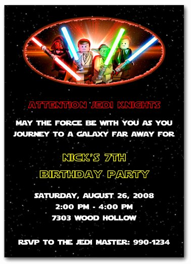 Lego Star Wars Party Invites Unique Star Wars Party Invitations
