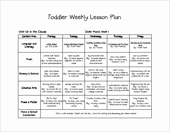 Lessons Plans for toddlers Inspirational Early Childhood Lesson Plan Example