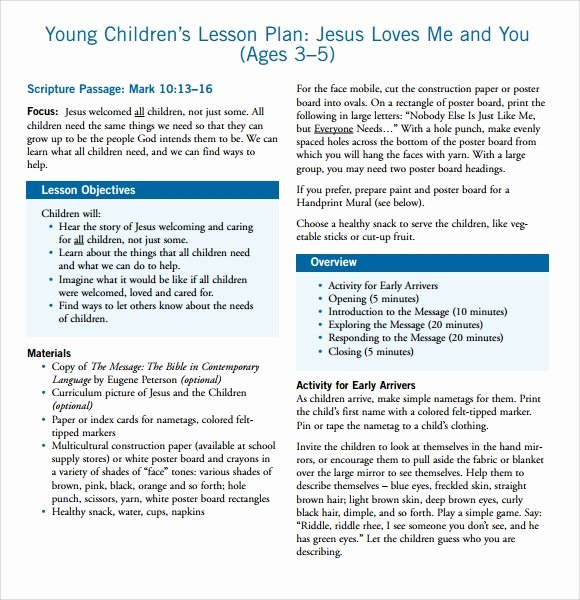 Lessons Plans for toddlers Luxury Sample toddler Lesson Plan 8 Documents In Pdf Word