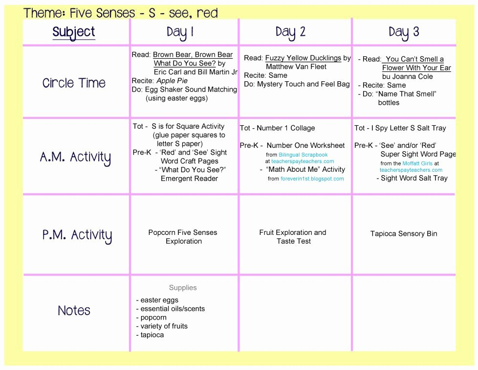 Lessons Plans for toddlers Unique Five Senses Lesson Plan All About Me themed Crafts An