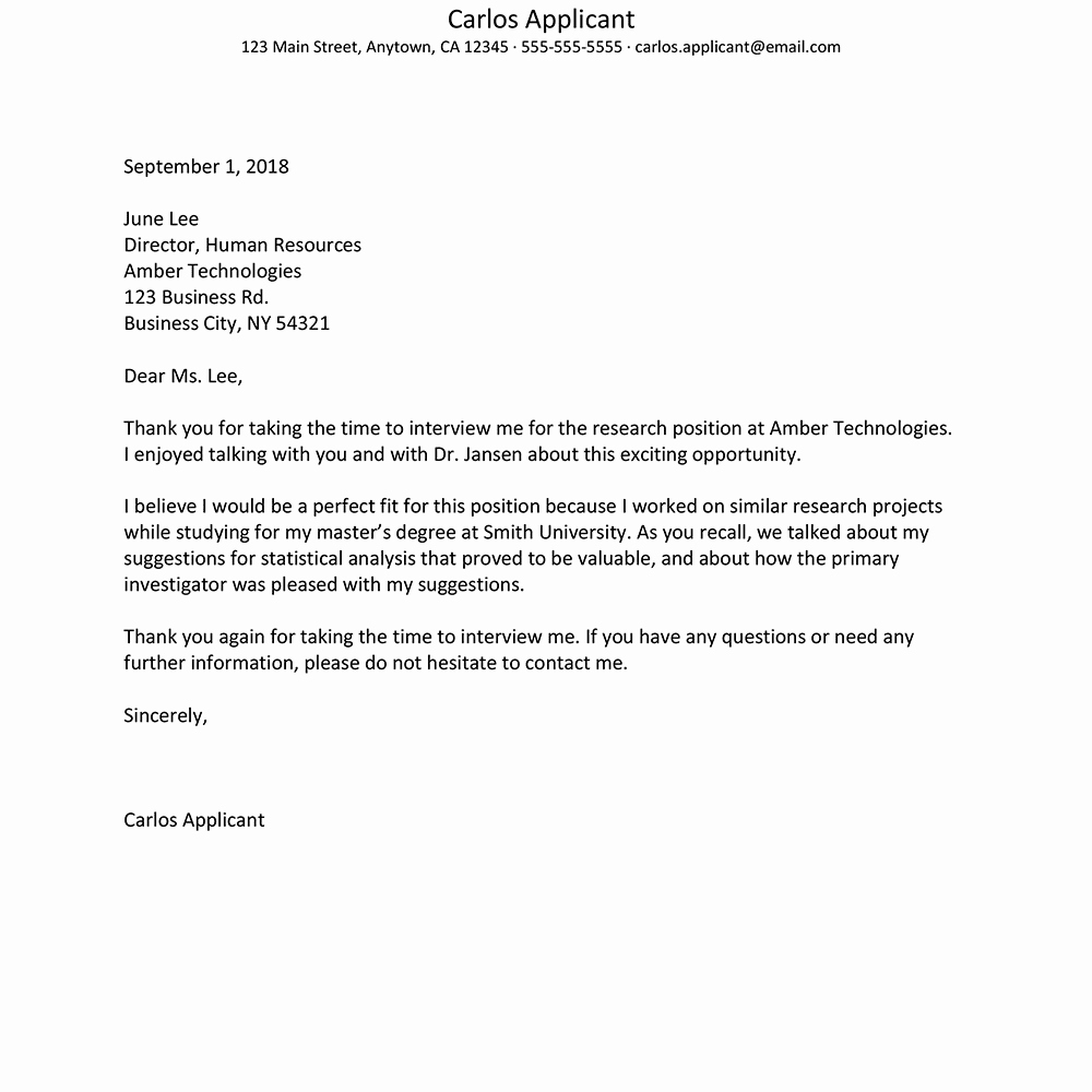 Letter after An Interview Best Of format for Writing An Interview Thank You Letter