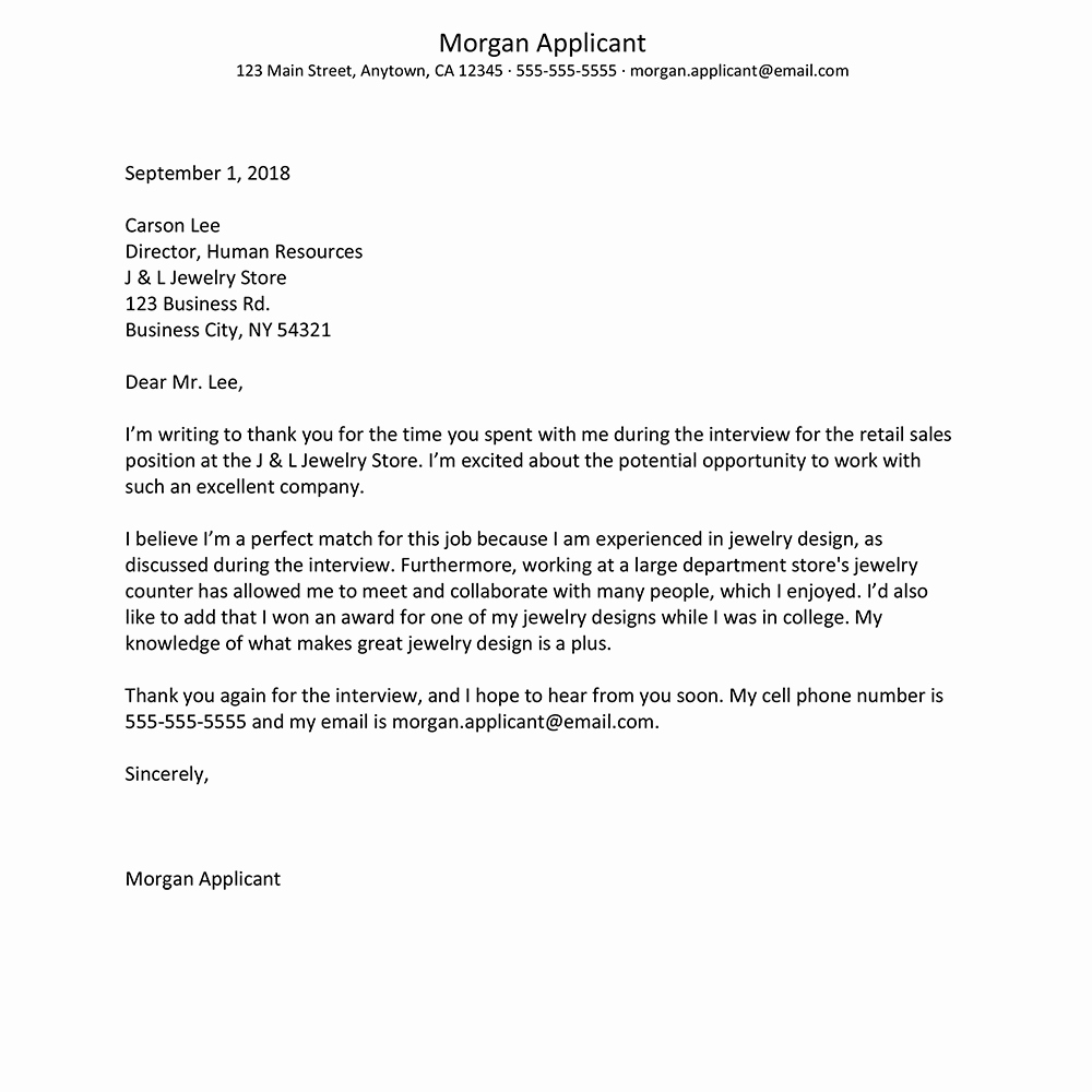Letter after An Interview Fresh Job Interview Thank You Letter Template