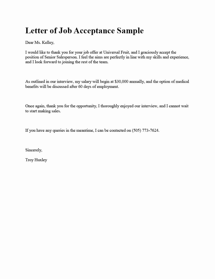 Letter for A Job Awesome 40 Professional Job Fer Acceptance Letter & Email