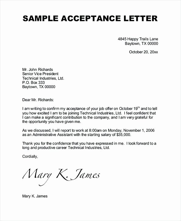 Letter Of Acceptance Contract Beautiful 43 Job Acceptance Letter – How to Impress Your Employer