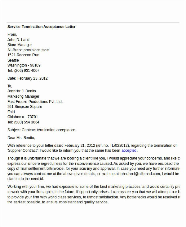 Letter Of Acceptance Contract Elegant Free Termination Letter Templates 38 Free Word Pdf