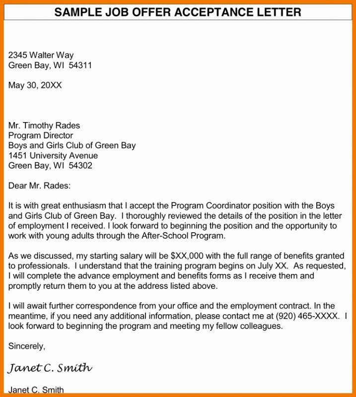 Letter Of Acceptance Contract Elegant Job Fer Acceptance Letter