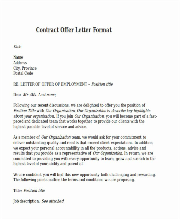 Letter Of Acceptance Contract Inspirational Contract Fer Letter Templates 9 Free Word Pdf format