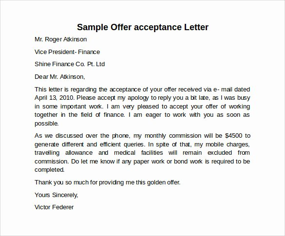 Letter Of Acceptance Contract Luxury 9 Sample Fer Acceptance Letters to Download