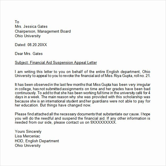 Letter Of Appeal Sample Awesome Free 11 Appeal Letters In Free Samples Examples format