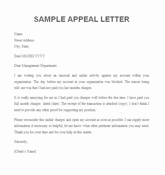Letter Of Appeal Sample Fresh Appeal Letter Free Sample Letters