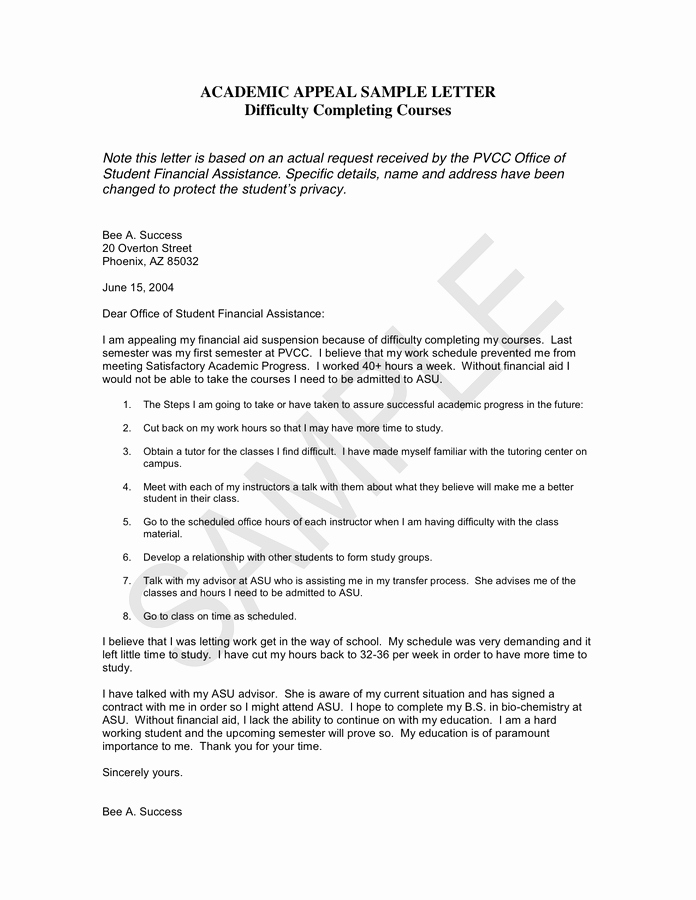 Letter Of Appeal Sample Inspirational Academic Appeal Sample Letter In Word and Pdf formats