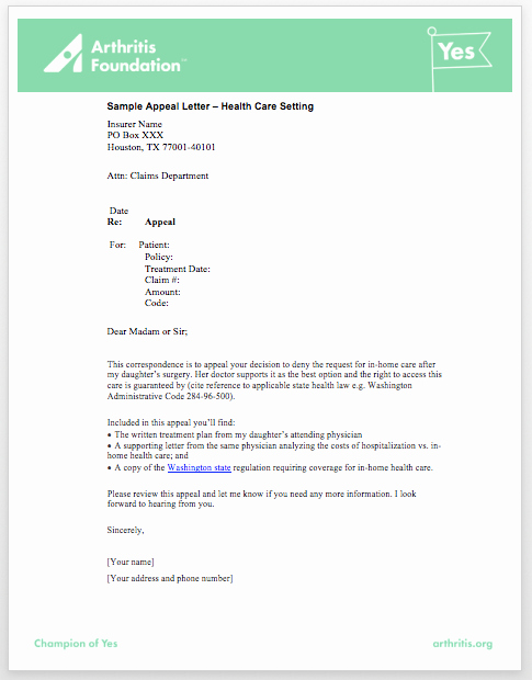 Letter Of Appeal Sample New Sample Appeal Letters Access to Care toolkit