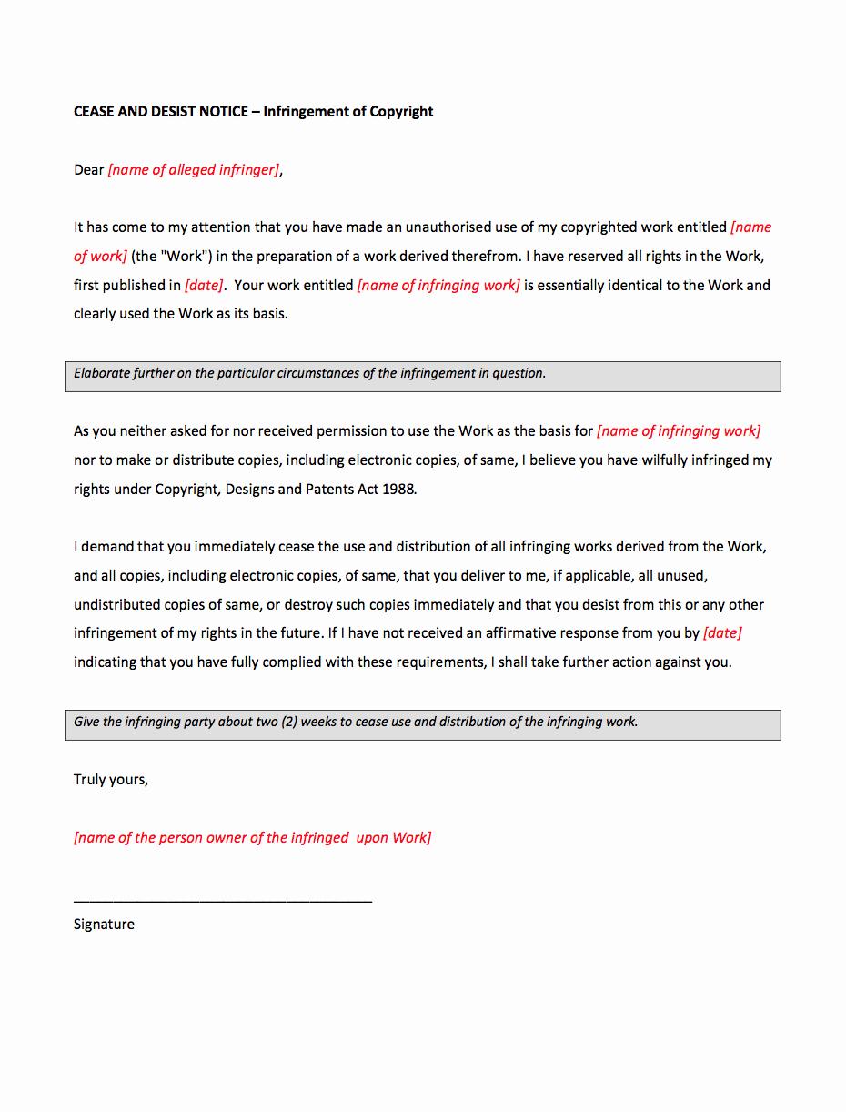 Letter Of Cease and Desist Elegant Cease and Desist Letter for Copyright Infringement Template