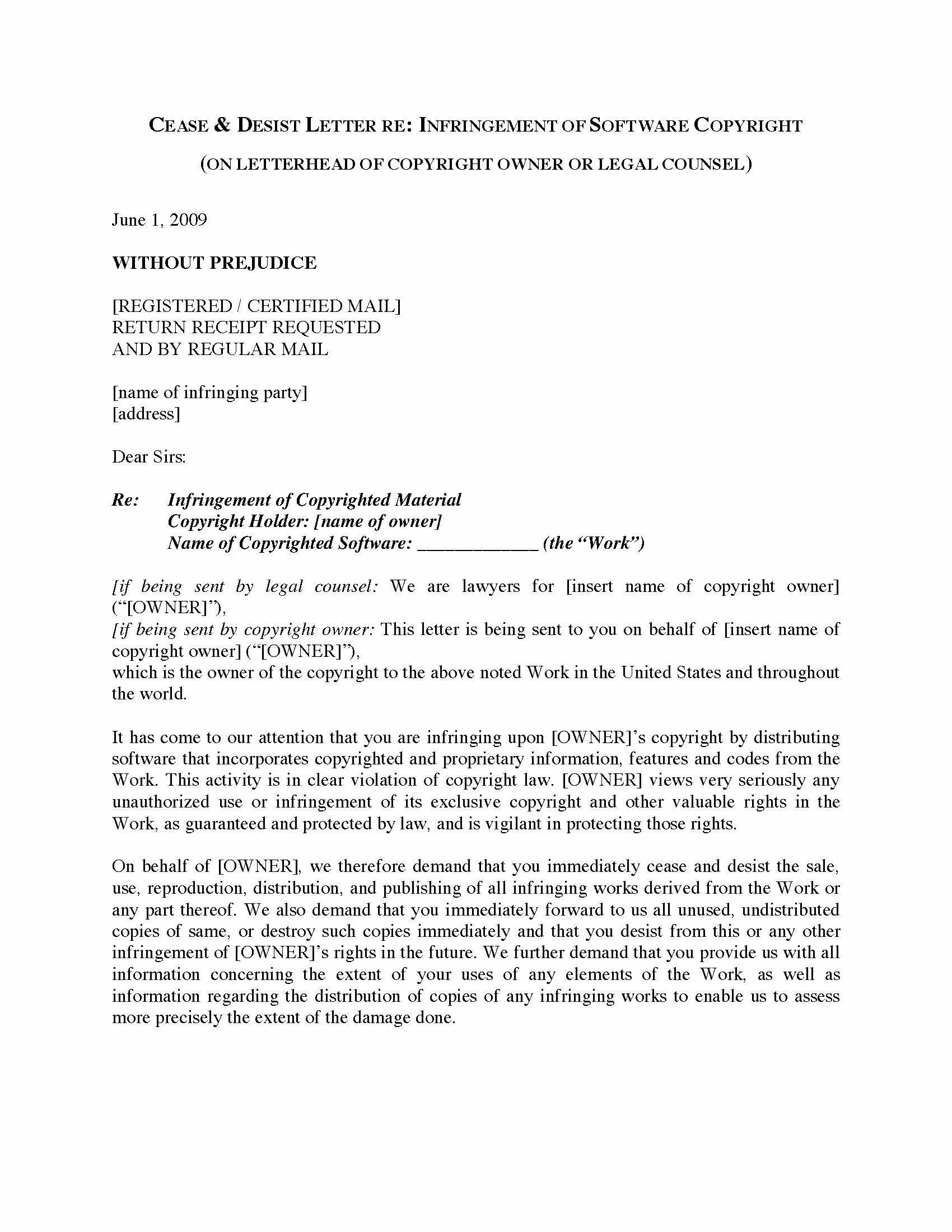 Letter Of Cease and Desist Fresh Usa Cease and Desist Letter Re software Copyright