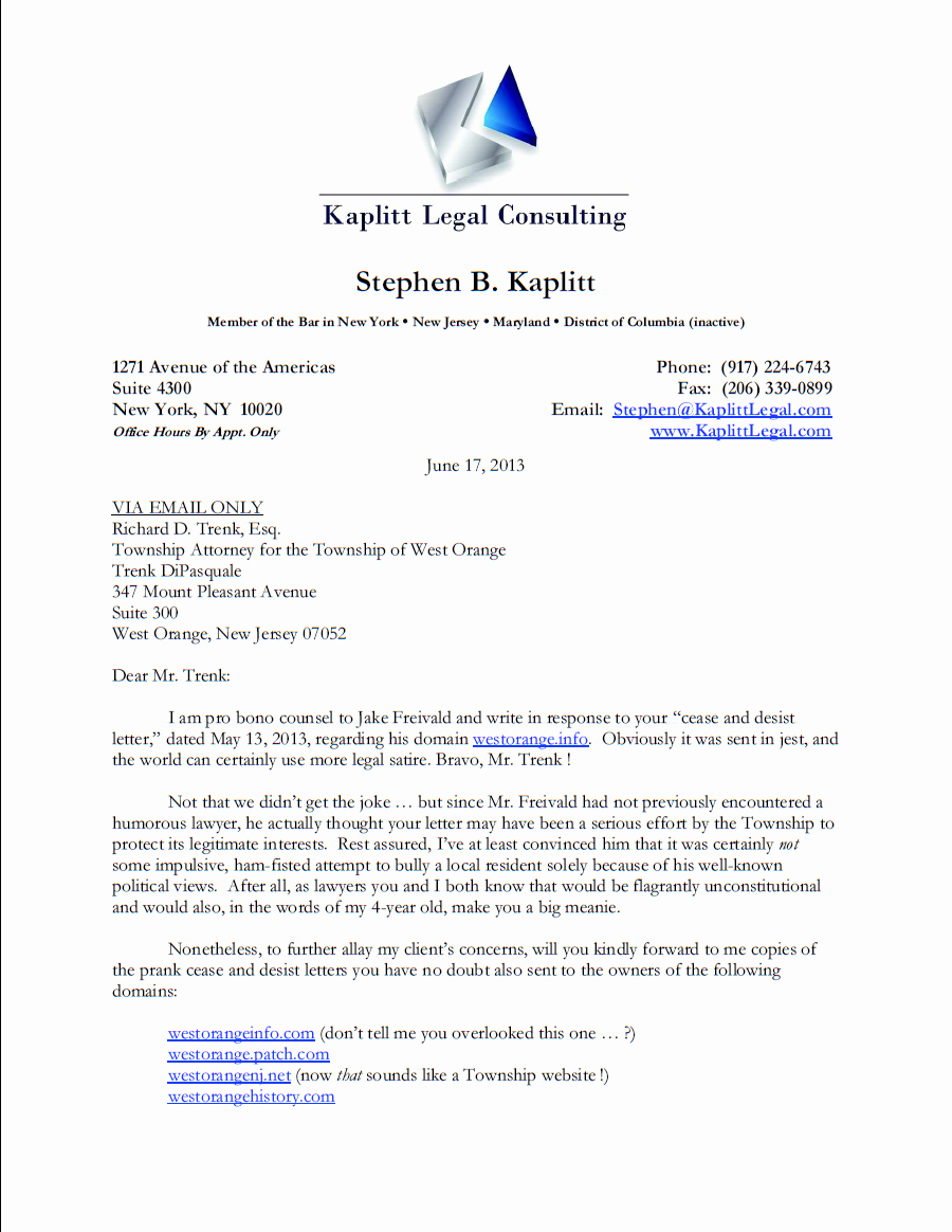 Letter Of Cease and Desist Luxury Lawyer Brilliantly Bites township Trying to Shut His