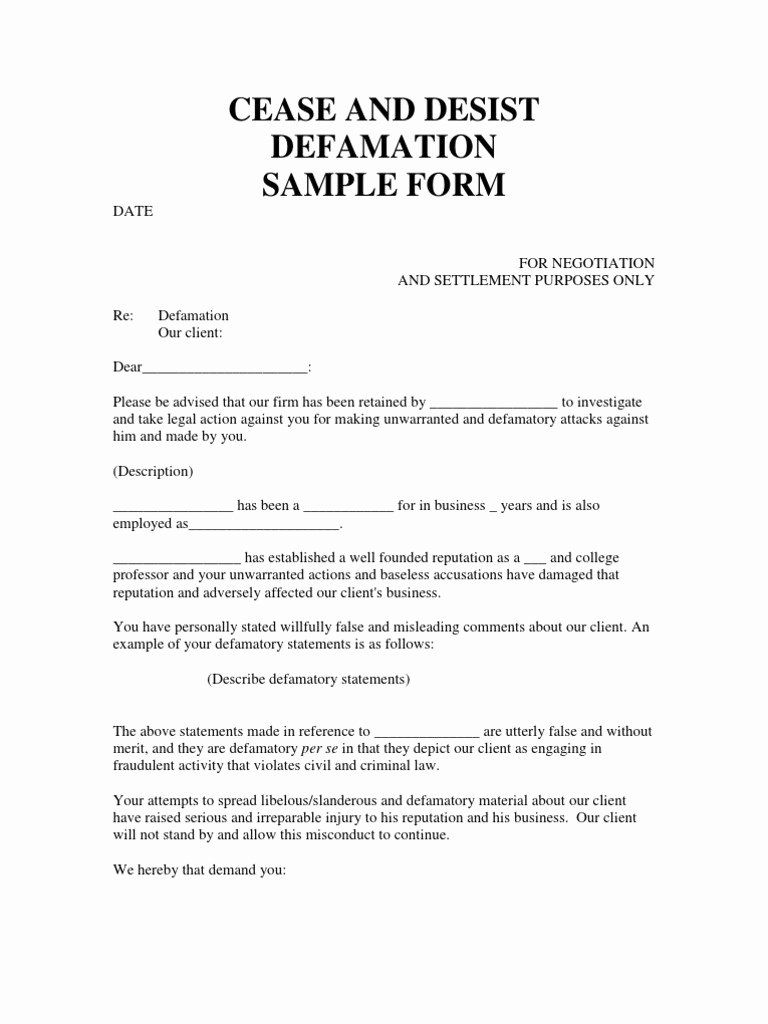 Letter Of Cease and Desist Luxury Slander Letter Template Uk Samples
