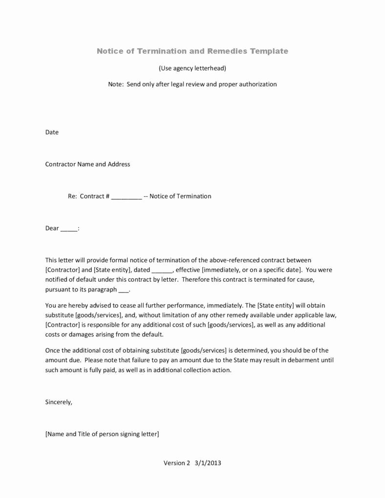 Letter Of Contract Termination Fresh 10 Business Termination Letters Free Word Pdf Excel