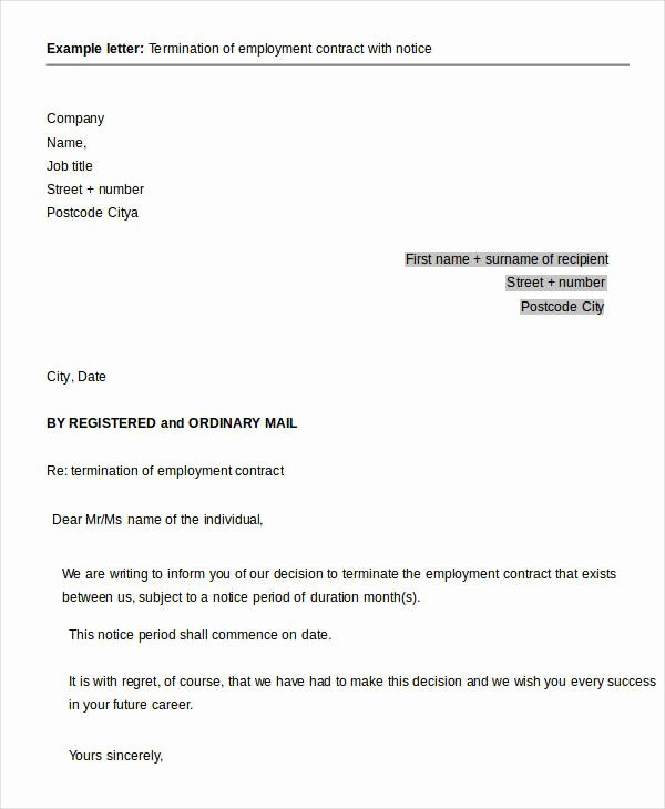 Letter Of Contract Termination New 41 Sample Termination Letter Templates Word Pdf Ai