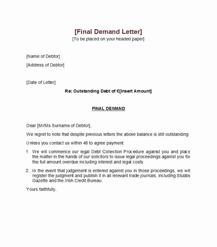 Letter Of Demand Template Awesome 7 Legal Demand Letter Sample