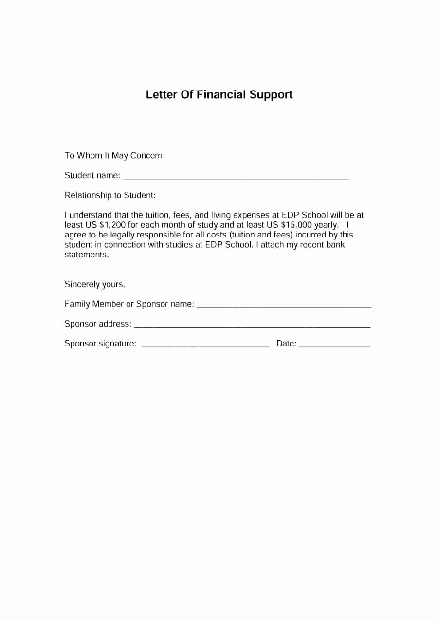 Letter Of Financial Support Template Awesome 40 Proven Letter Of Support Templates [financial for