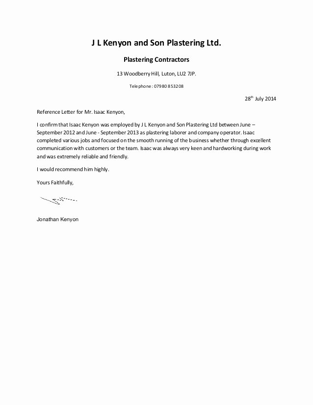 Letter Of Financial Support Template Fresh Written Reference 2 J L Kenyon and son Plastering Ltd 1
