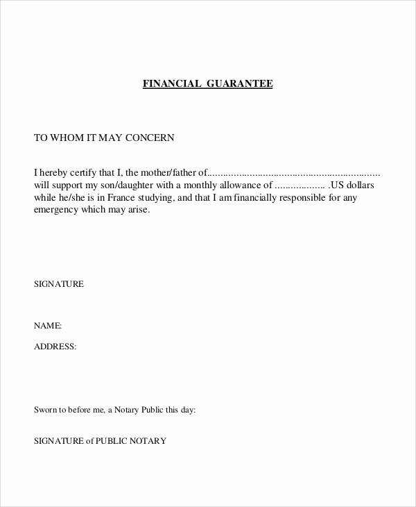 Letter Of Financial Support Template New 54 Guarantee Letter Samples Pdf Doc