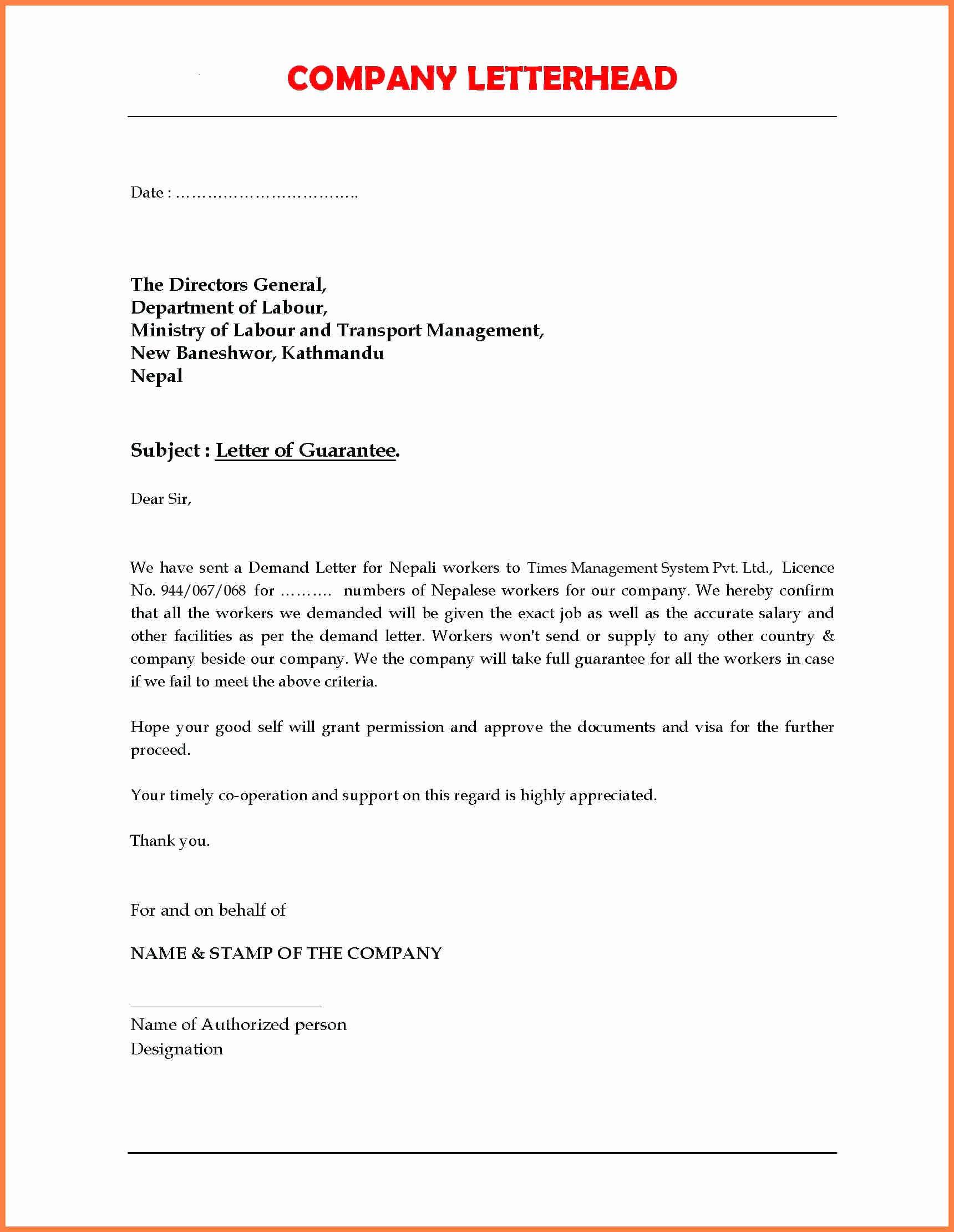 Letter Of Guarantee Sample Fresh 7 Pany Guarantee Letter