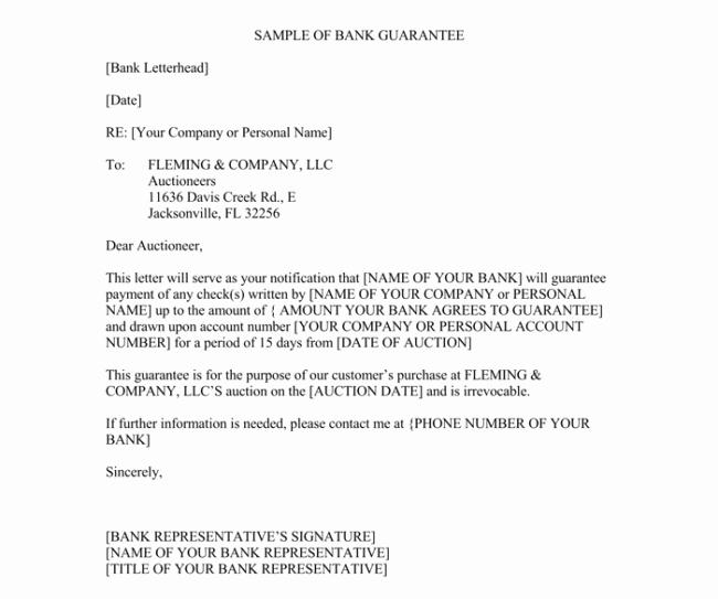 Letter Of Guarantee Sample Inspirational Letter Of Guarantee 10 Samples for Word and Pdf