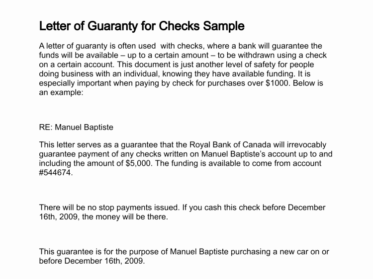 Letter Of Guarantee Sample Inspirational Letter Of Guaranty