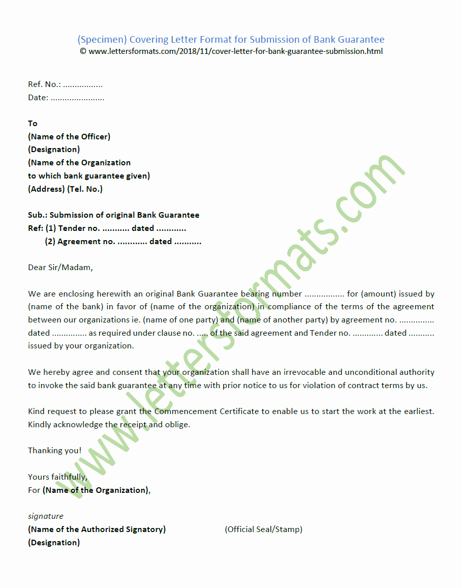 Letter Of Guarantee Sample Lovely Covering Letter format for Submission Of Bank Guarantee
