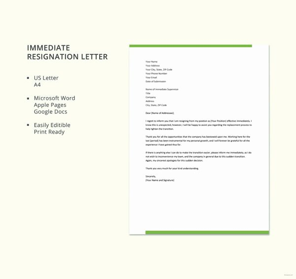 Letter Of Immediate Resignation Awesome Last Minute Resignation Letter 10 Free Word Pdf