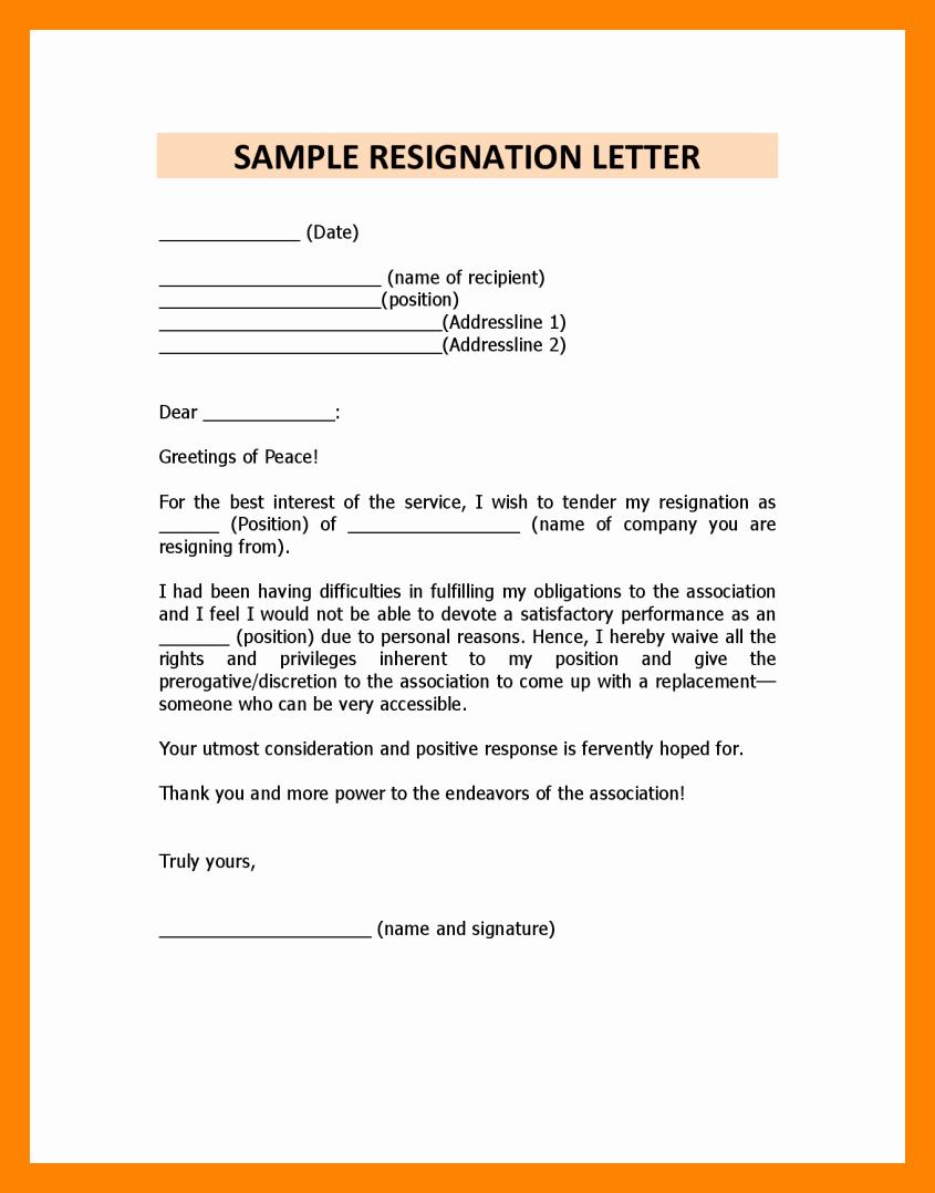 Letter Of Immediate Resignation Best Of 5 Immediate Resignation Letter Due to Personal Reasons