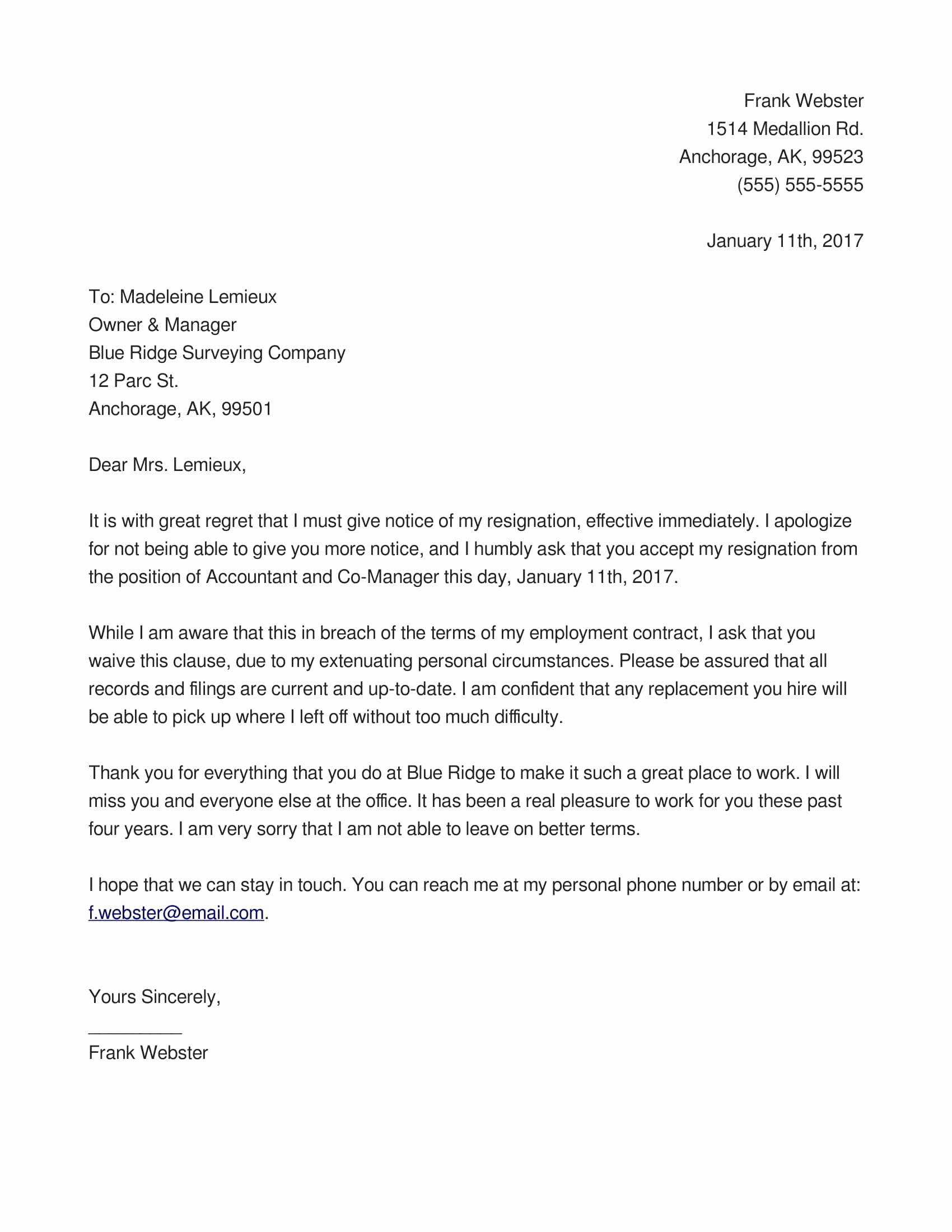 Letter Of Immediate Resignation Elegant Resignation Letter Sample Unhappy Employee