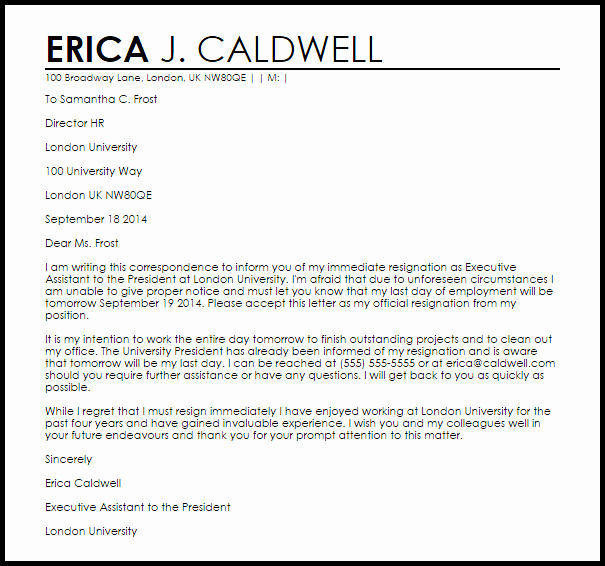 Letter Of Immediate Resignation Fresh Immediate Resignation Letter Example