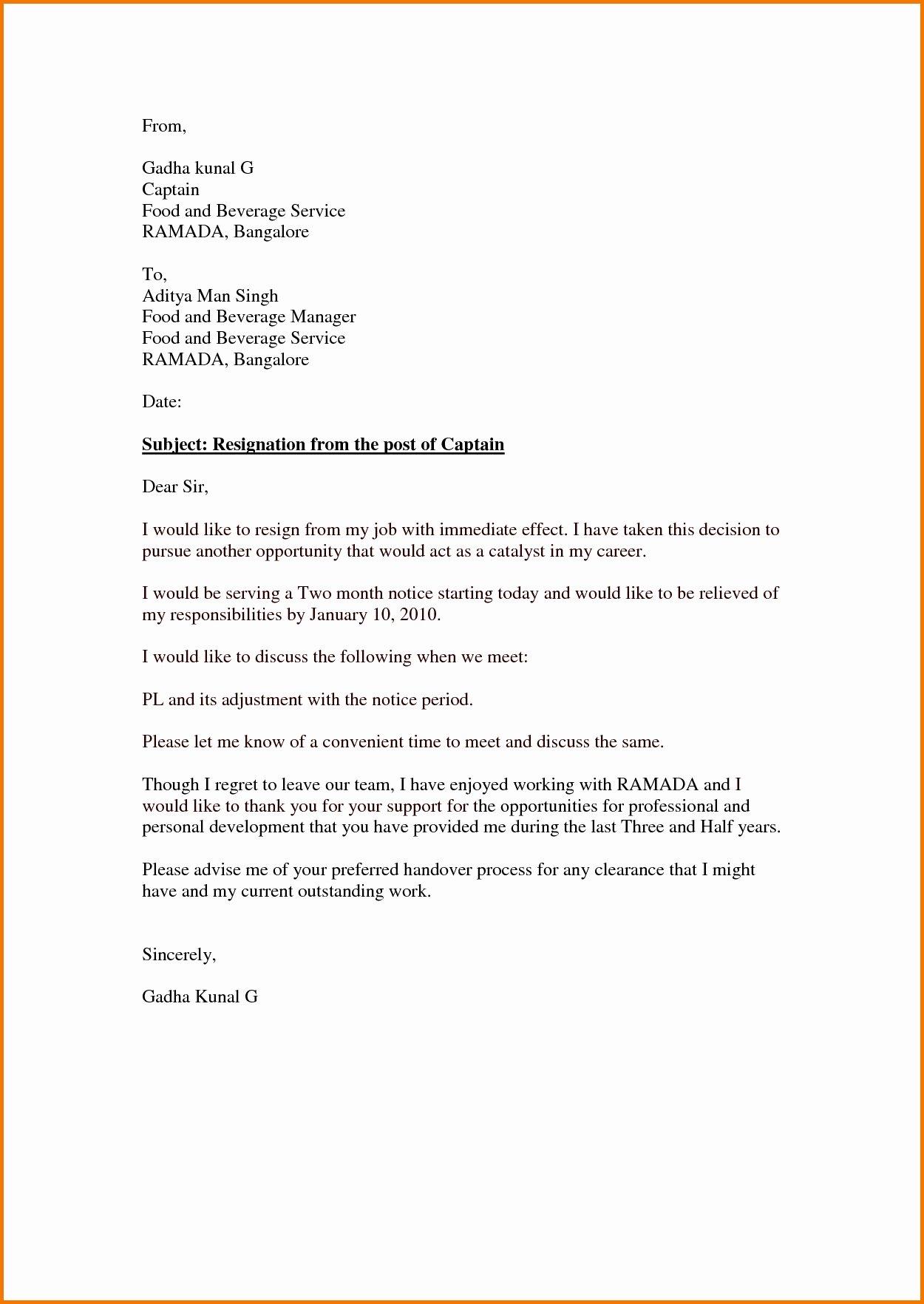 Letter Of Immediate Resignation Inspirational Immediate Resignation Letter Template Examples