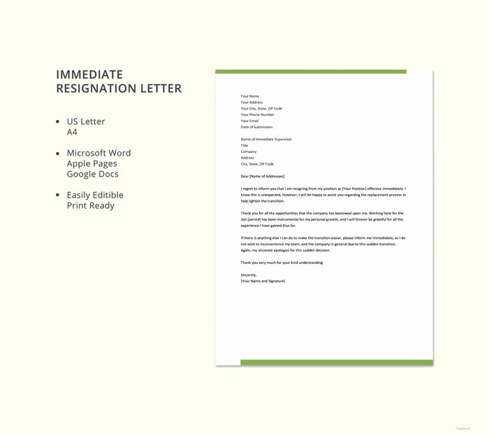 Letter Of Immediate Resignation Luxury 21 Simple Two Weeks Notice Letter Resignation Templates