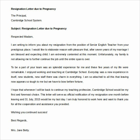 Letter Of Immediate Resignation New 21 Example Of Resignation Letter Templates Free Sample