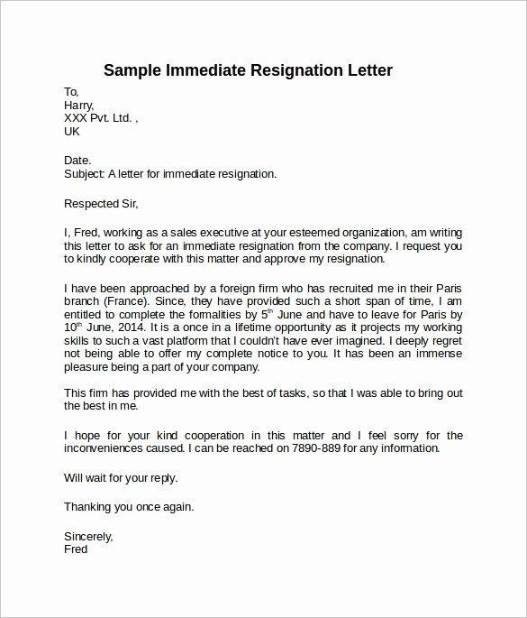 Letter Of Immediate Resignation New Sample Resignation Letter Short Notice 6 Free Documents