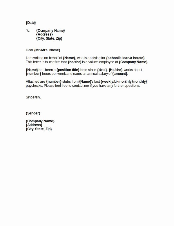Letter Of Income From Employer Awesome 7 Salary Verification Letter Examples Doc