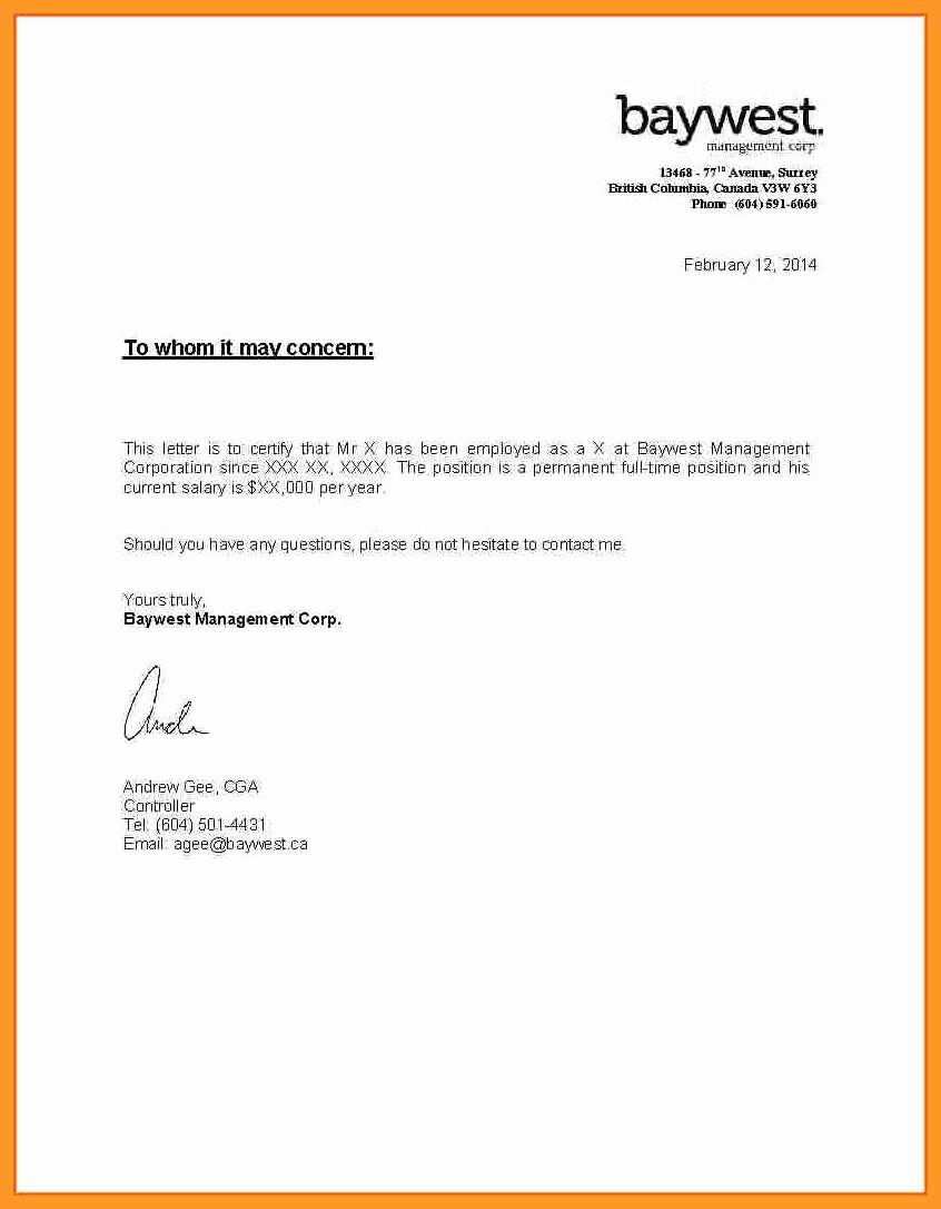 Letter Of Income From Employer Best Of 10 11 Sample Proof Of In E Letter From Employer