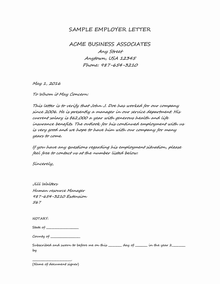 Letter Of Income From Employer Fresh 40 In E Verification Letter Samples & Proof Of In E