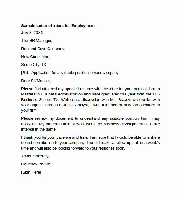 Letter Of Intent Sample Job Beautiful 7 Letter Of Intent for Employment Templates to Download