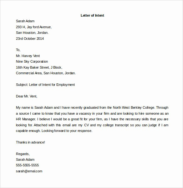 Letter Of Intent Sample Job Fresh 31 Letter Of Intent for A Job Templates Pdf Doc