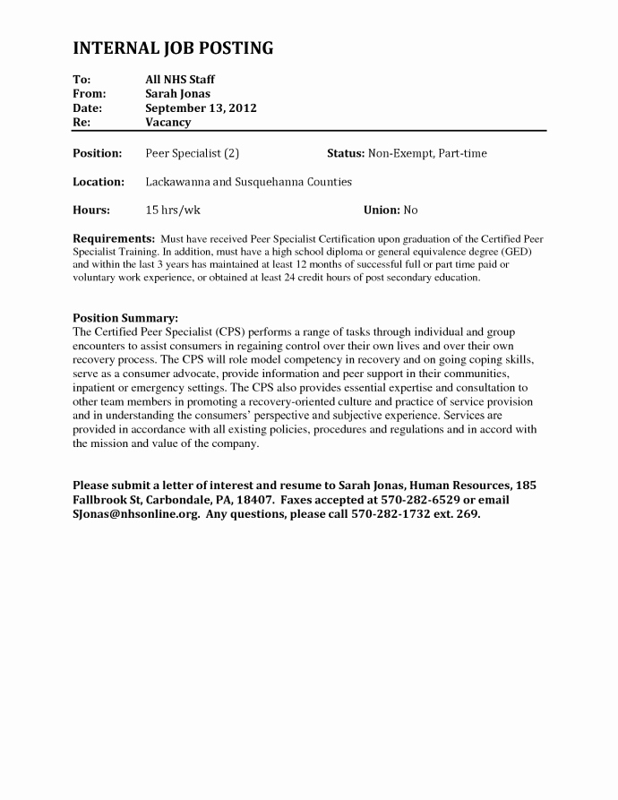 Letter Of Interest for Employment Elegant Letter Interest for Internal Job Posting Application