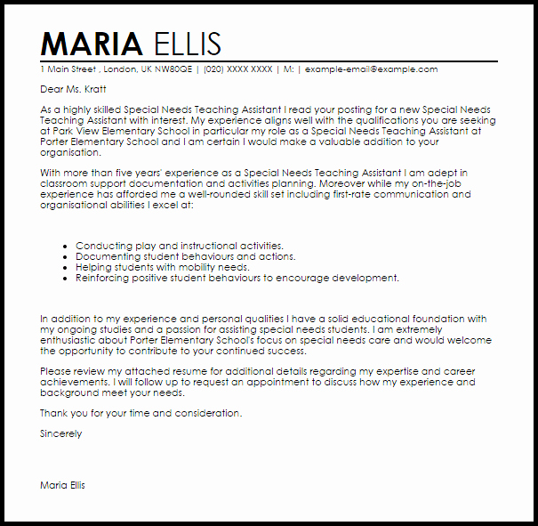 Letter Of Interest Teacher Awesome Special Needs Teaching assistant Cover Letter Sample
