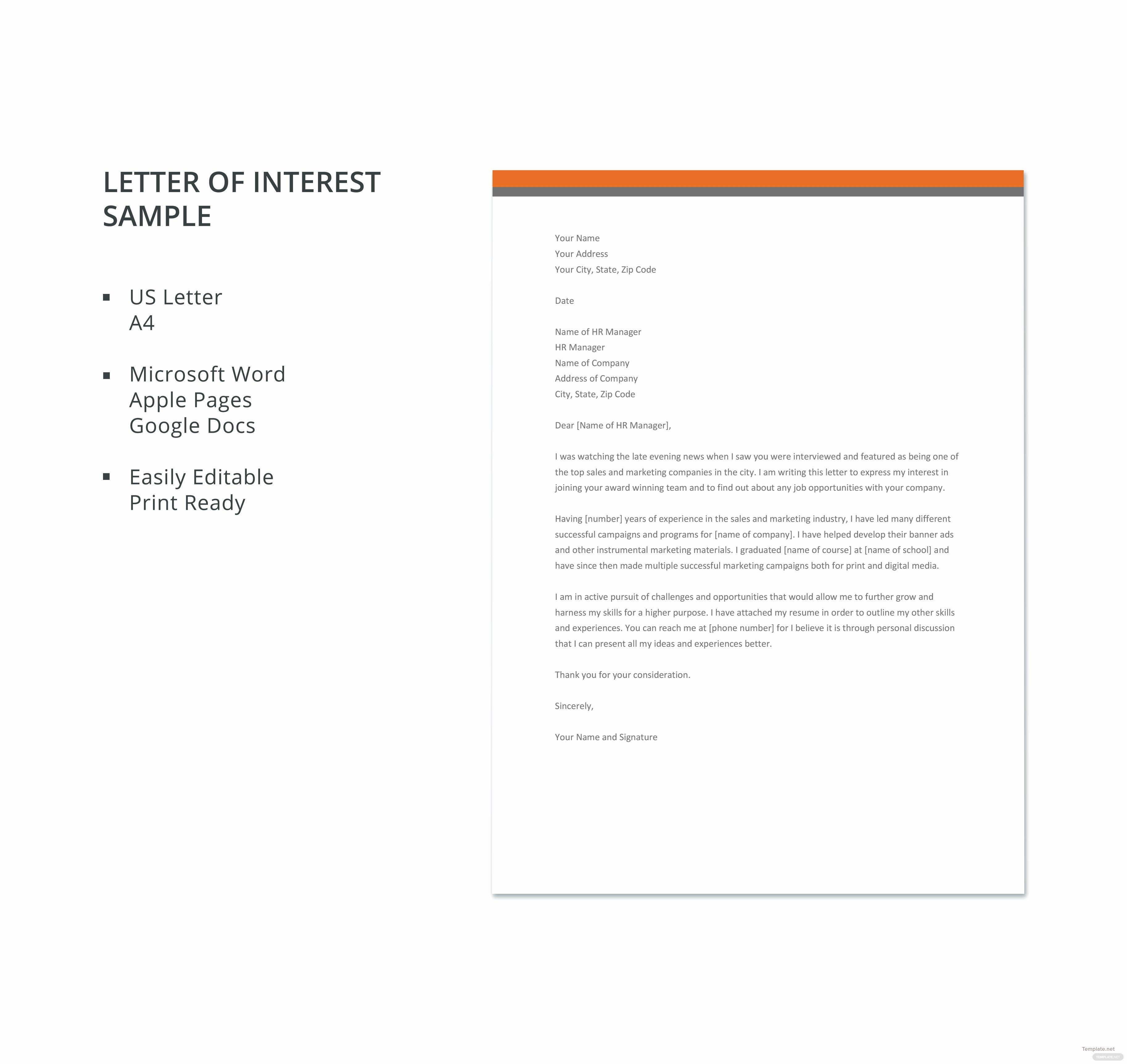 Letter Of Interest Template Word Elegant Letter Of Interest Sample Template In Microsoft Word