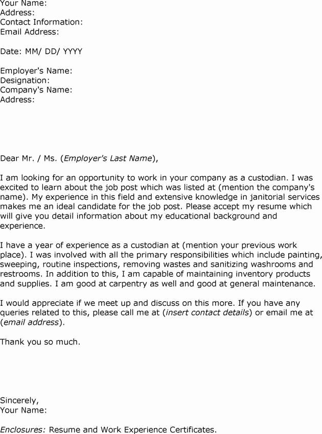 Letter Of Intrest Example Awesome Sample Letter Interest Custodian Employment