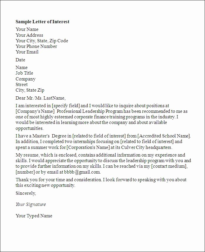Letter Of Intrest Example Inspirational Letter Application Letter Interest for A Job In