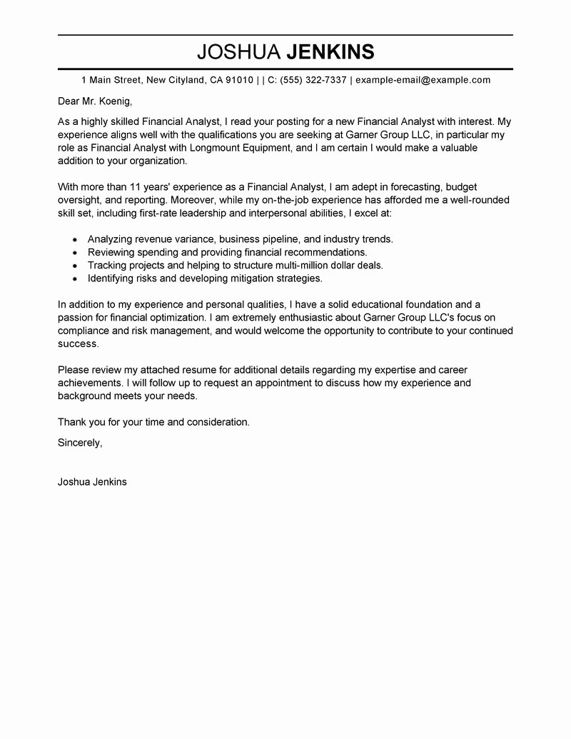 Letter Of Intrest Example New Business Analyst Cover Letter Examples