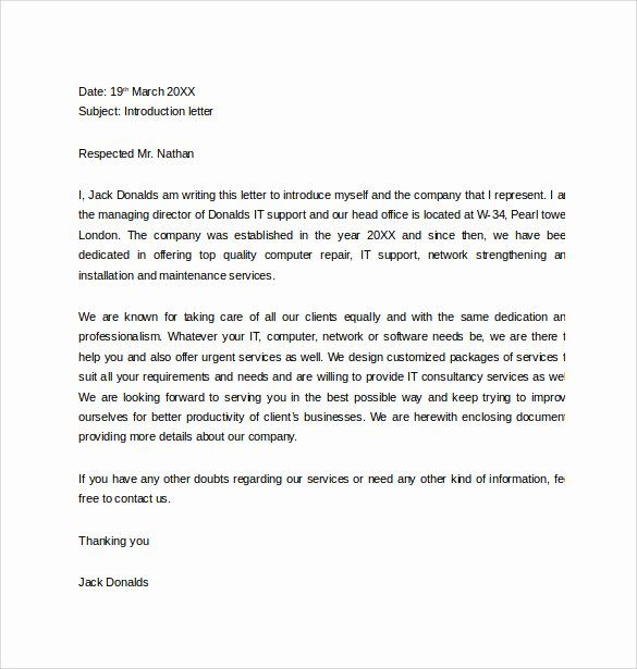 Letter Of Introduction Example Lovely Free 33 Sample Introduction Letters In Doc